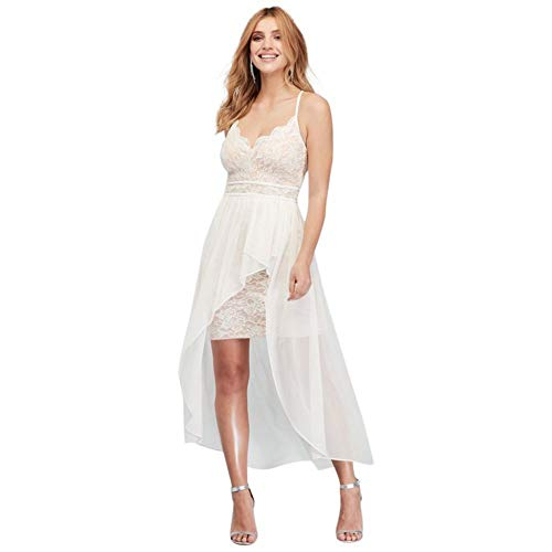 Scalloped Lace Plunging-V Mini Dress with Overlay Style 12676, Ivory, 6