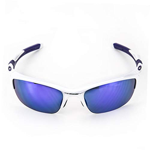 Oakley Men's Non-Polarized Half Jacket 2.0 Oval Sunglasses,Pearl Frame/Violet Iridium Lens, 62 ()