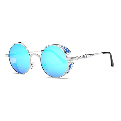 LOMOL Retro Trendy Cool Steampunk Flip Lens UV Protection Polarized Round Sunglasses For - Super Official Sunglasses Website