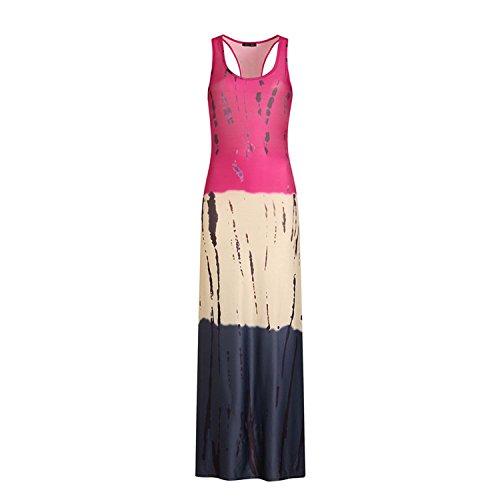 COOL-JULY Summer 2018 Print Sleeveless Casual Pencil Dress Slim Beach Bohemian Maxi Dresses Long Vestido Sundress,10,XL