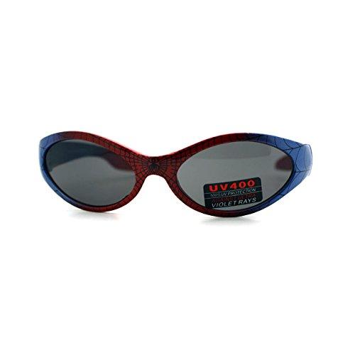 Kid's Spiderman Sunglasses Spidey Spider Web Oval Frame Boys 3+ (Red Blue)