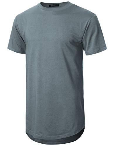GIVON Mens Lightweight Hipster Hip Hop Elong Round Hemline Tri-Blend Rayon Modal Cotton Crewneck T-Shirt/DCT070-GREY-2XL (Best T Shirt Brands In India)