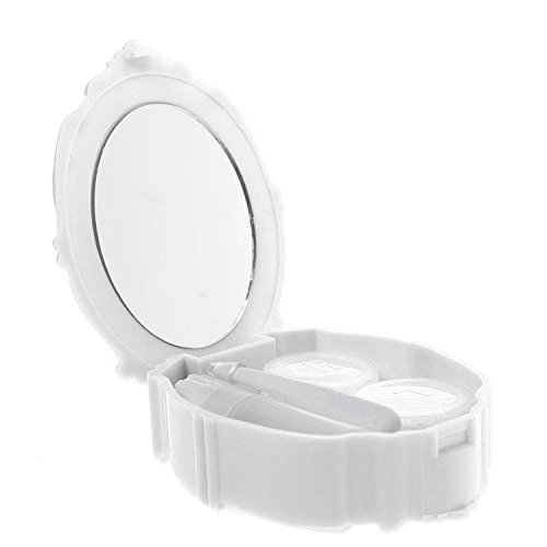 Adecco LLC Rose Design Contact Lenses Case Holder Storage Box for Home and Travel with Mirror (White)