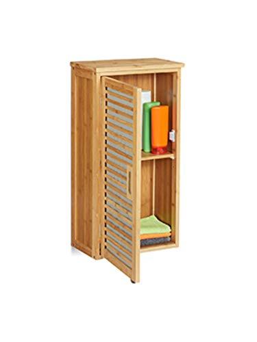 Relaxdays Bad Hängeschrank, Bambus, 2 Fächer, höhenverstellbarer Einlegeboden, Badschrank HxBxT: 66 x 35 x 20 cm, Natur, 1 Stück