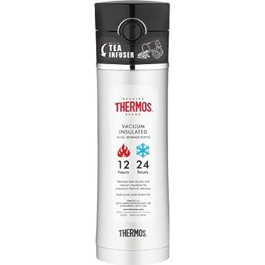 Thermos Botella para bebidas con infusor de té y capacidad de 473.17ml (16oz), negra
