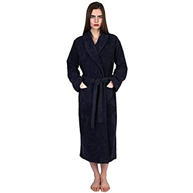 TowelSelections Turkish Cotton Bathrobe Terry Shawl Robe for Women and Men Medium/Large Navy