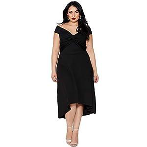 Rela Bota Women s Plus Size V Neck Dip Hem Off Shoulder Evening Party  Cocktial Midi Dress Black XXXL 3cfc5371b