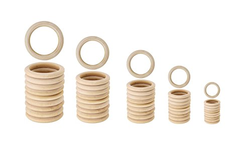 Bestsupplier 50 Pcs Unfinished Solid Wooden Rings for Craft, Ring Pendant and Connectors Jewelry Making, 5 Size by Bestsupplier