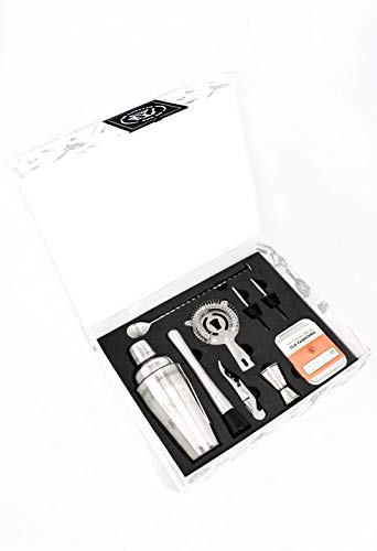 (Complete 8-Piece Home Mixology Bartender Kit and BONUS Old Fashioned Cocktail Kit ($22 Value) - Premium Home Bartending Kit and Cocktail Shaker Set - (Silver))