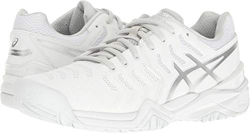 ASICS Women's Gel-Resolution 7 Tennis Shoe, White/Silver, 9.5 M US