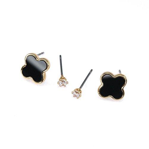 Black Alhambra Earrings, Gold Alhambra Earrings, Minimalist Earrings, Diamond Earrings, Simple Earrings, Everyday Earrings, Birthday Gift BN920G1-E