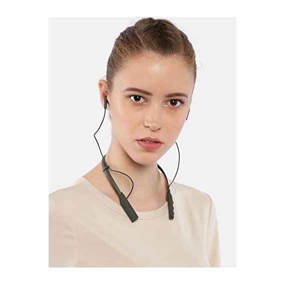Wings Glide Neckband Latest Bluetooth 5.0 Wireless Earphones Headphones Earbuds 10 Hours Playtime Built-in Woofers for Extra Bass and Siri Google Assistant Control (Olive Green)