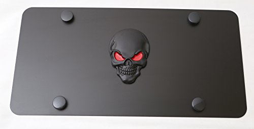 LFPartS Skull 3D Metal Emblem on Stainless Steel License Plate (12x6, Black Red on Black)