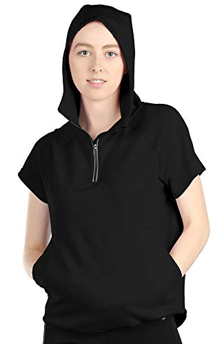 icyzone Workout Hoodie for Women - Athletic Running Pullover Short Sleeve Shirts with Kangaroo Pocket (XL, Black)