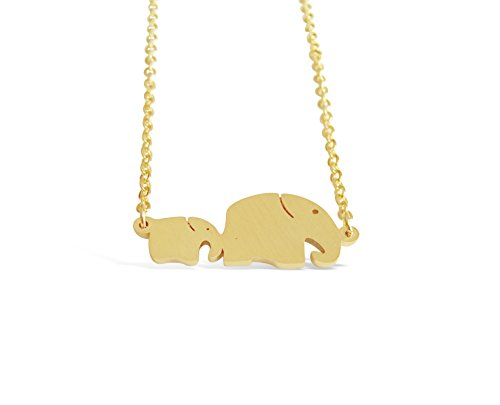 "Rosa Vila Mom and Baby Elephant Necklace, Elephant Jewelry for Women and Girls, Animal Jewelry for Big Sister, New Grandmother Necklace, New Mom Jewelry,17"" Chain (Gold Tone)"