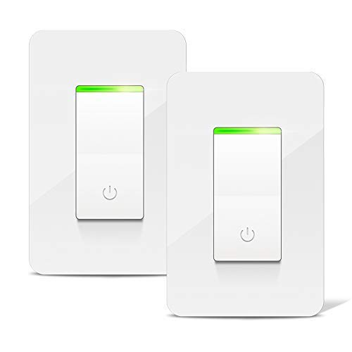 Smart Light Switch, Aicliv WiFi Smart Switch 2 Packs, Works with Alexa Echo & Google Home IFTTT, Control Lighting from Anywhere, No Hub Required, 15A, FCC and ETL Listed (Neutral Wire Required)