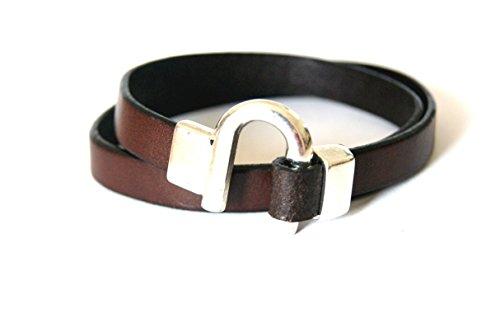 Horseshoe Leather Bracelet Double Wrap Equestrian Western jewelry