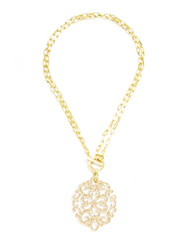 ZENZII Modern Damask Acrylic Resin Pendant Necklace with Convertible Toggle Chain (Gold)