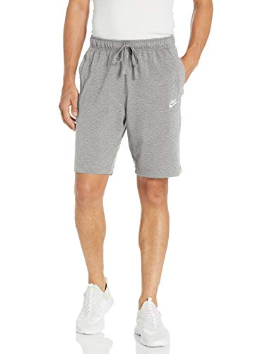 Nike Men's Sportswear Club Short Jersey, Dark Grey Heather/White, Large