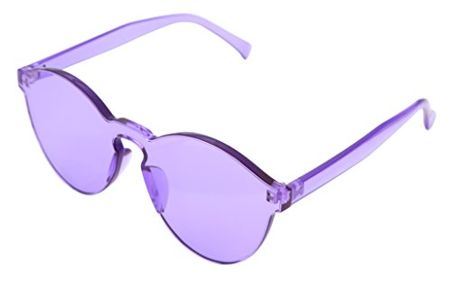 FEISEDY Stylish Round Transparent Lens Rimless Flame Sunglasses - Purple Transparent