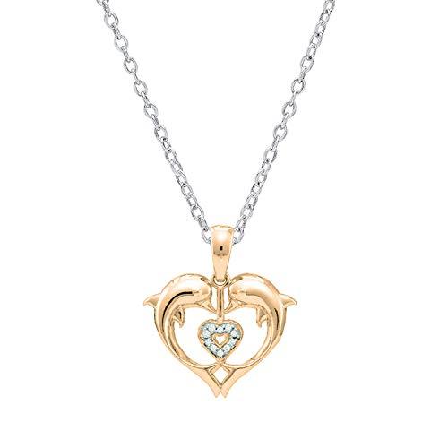 - Dazzlingrock Collection 0.05 Carat (ctw) 10K Round White Diamond Ladies Heart Shape Double Dolphin Pendant, Rose Gold