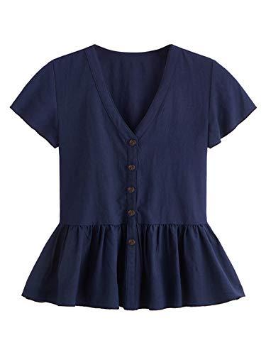 (Verdusa Women's Casual V Neck Single Breasted Ruffle Hem Peplum Blouse Tops Navy XL )