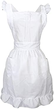 LilMents Retro Adjustable Ruffle Apron with Pockets, Small to Plus Size Ladies