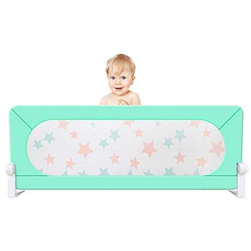 JAZC-Bed Rail Toddlers Safety Bed Rail, Vertical Lift Children Bed Guard, for Infant Kids Twin, Double, Full Size Queen/King Mattress (Color : Green, Size : 150X60cm)
