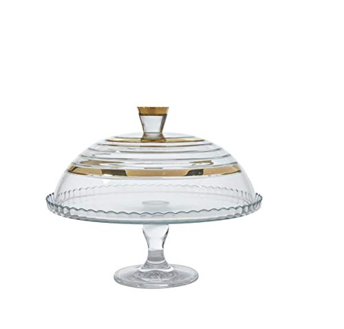 Glazze Crystal APP-458-GL Appalachia Luxury Dome with Real 24K Wide Gold Riming | Sophisticated Pedestal Cake Plate with Glass Cover, 9