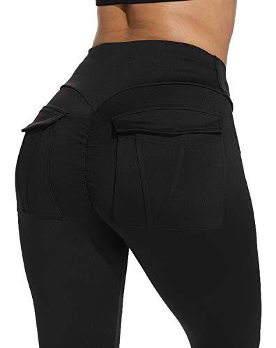 KIWI RATA Women Scrunch Butt Yoga Pants Leggings High Waist Waistband Workout Sport Fitness Gym Tights Push Up (#1650Black, S(US2))