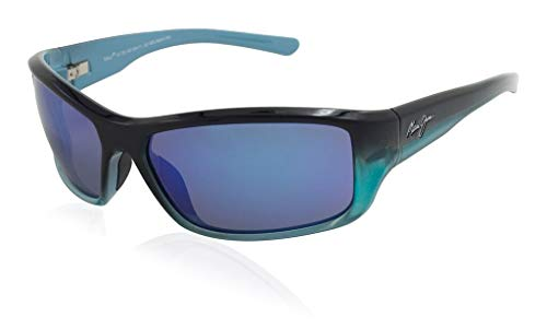 Maui Jim Barrier Reef B792-06C | Polarized Blue with Turquoise Wrap Frame Sunglasses, Hawaii Lenses, with with Patented PolarizedPlus2 Lens ()