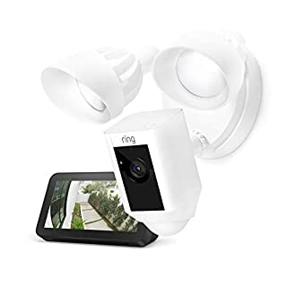 Ring Floodlight Camera (White) with Echo Show 5 (Charcoal)