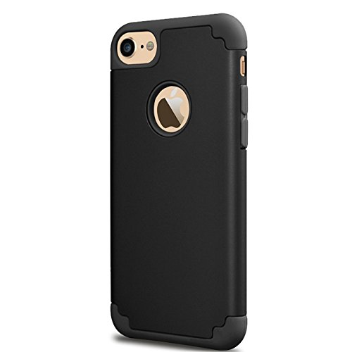 iPhone 6 Plus Case,iPhone 6s Plus Case, iBarbe Slim fit Hybrid Rubber PC Shockproof Heavy Duty Protection Case with soft Inner + Hard bumper Frame for iPhone 6 6s Plus (5.5 inch) phone-black