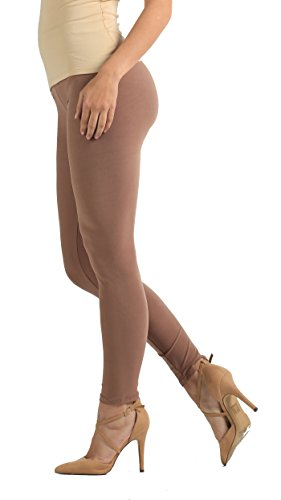 (Conceited Super Soft High Waisted Women's Leggings - Opaque Full Ankle Length - Mocha Tan - Plus Size (12-22))