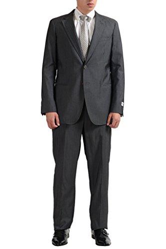 Armani Collezioni Men's Wool Striped Two Button Gray Suit US 44R IT ()