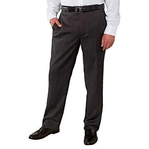 Kirkland Signature Men's Wool Gabardine Pleated Dress Slack Pant (Charcoal Twill, 44x32)