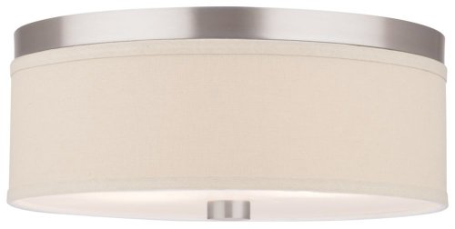 Forecast Lighting F1318-36U Embarcadero Two-Light Energy Efficient Flushmount with Vanilla Fabric Shades and Etched White Glass, Satin Nickel