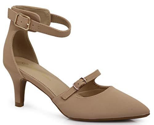 Enzo Romeo Jupiter Women's Pointy Toe High Mid Heel Sexy Ankle Strap Sandals Ballerina Dress Pump Ballet Wedding Patent Harlow Pump Shoes (10 B(M) US, Nude Nubuck (09))