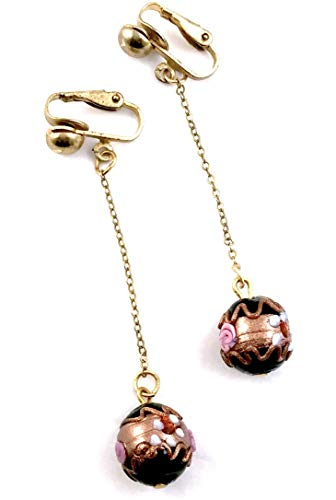 Lampwork Beaded Earrings Dangles On A Delicate Gold Filled Chain Choose Pierced Or Clip Shop DAYLE