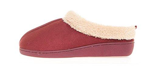Women's Memory Comfort Snsl Slip Fur Faux Seranoma Clog On burgundy Slippers Foam Indoor House datnqY74xW