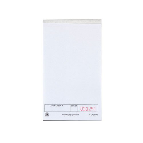 Royal White Guest Check Paper, 1 Part Booked, Unlined, Package of 10|-|B016YGUAE4