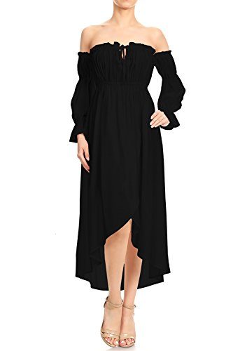 Anna-Kaci Womens Boho Long Sleeve Off Shoulder Renaissance Peasant Dress, Black, Small