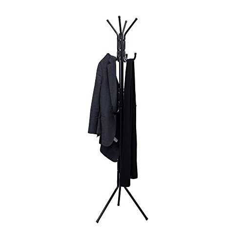 Metal Coat Rack Hat Hanger 11 Hook for Jacket, Purse, Scarf Rack, Umbrella Tree Stand, Black (Jacket Assembly)