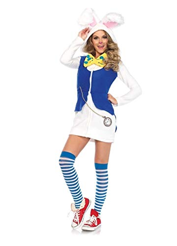 Cozy White Rabbit Dress Adult Womens Costume White/Blue ()