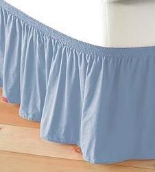 adjustable elastic bed skirt in light blue