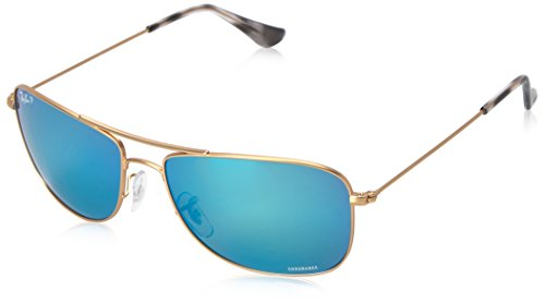 Ray-Ban RB3543 Chromance Mirrored Aviator Sunglasses, Matte Gold/Polarized Blue Mirror, 59 mm ()