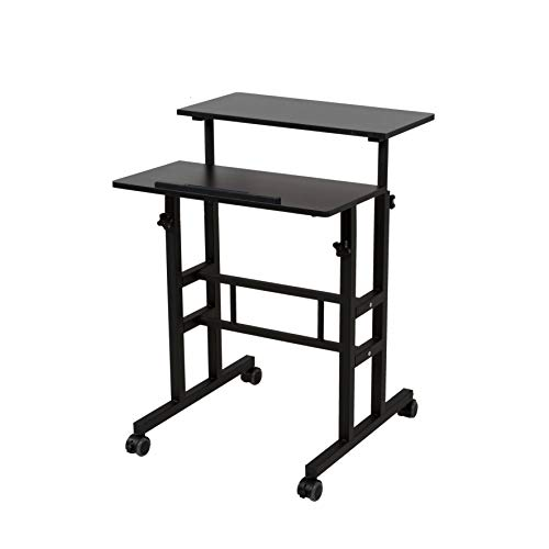 SDADI 2 Inches Carpet Wheels Mobile Standing Desk Stand Up Desk Height Adjustable Home Office Desk with Standing and Seating 2 Modes 3.0 Edition, Black S001BFBT