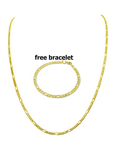 - BLING CULTURE Life Time Warranty 2.5mm Gold Figaro Chain Necklace for Men Women Lifetime Replacement Free 4mm Bracelet (16, Yellow-Gold 2.5mm)