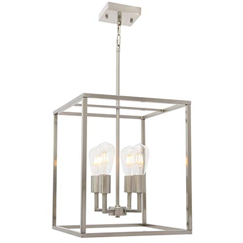 4 Light VINLUZ Modern Style Lighting in Brushed Nickel Finish,Industrial Cage Dining Room Chandelier Metal Hanging…