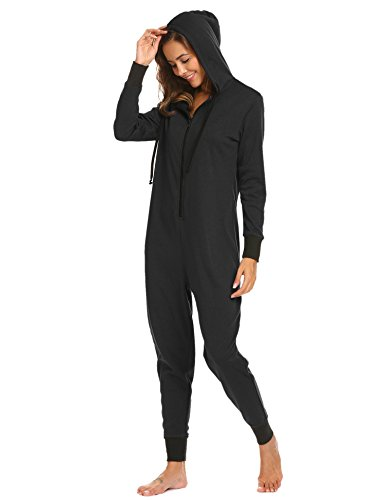 Dozenla Women Hooded Onesie Long Sleeve Zip Up Fleece Lined One-Piece Pajamas Loungwear Sleepwear